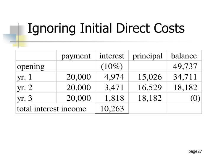Ignoring Initial Direct Costs