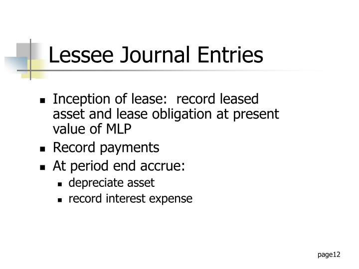 Inception of lease:  record leased asset and lease obligation at present value of MLP