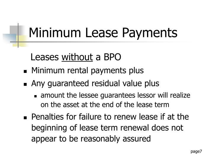 Minimum rental payments plus
