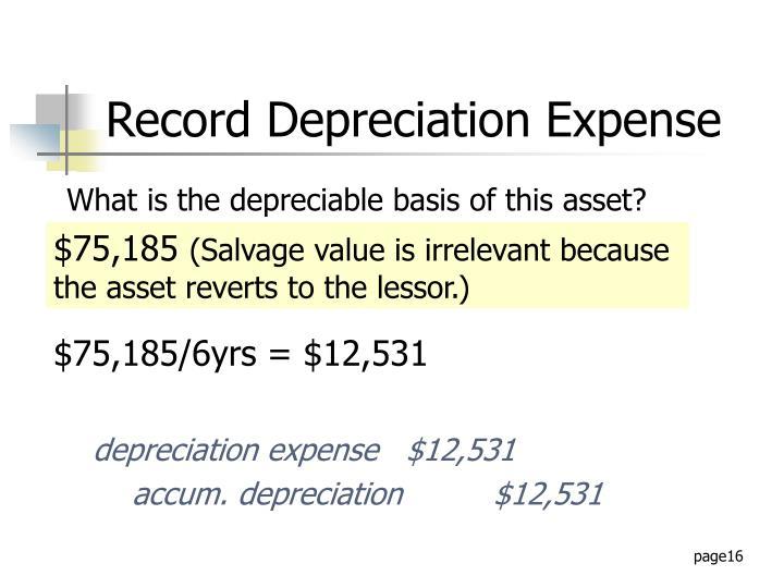 Record Depreciation Expense