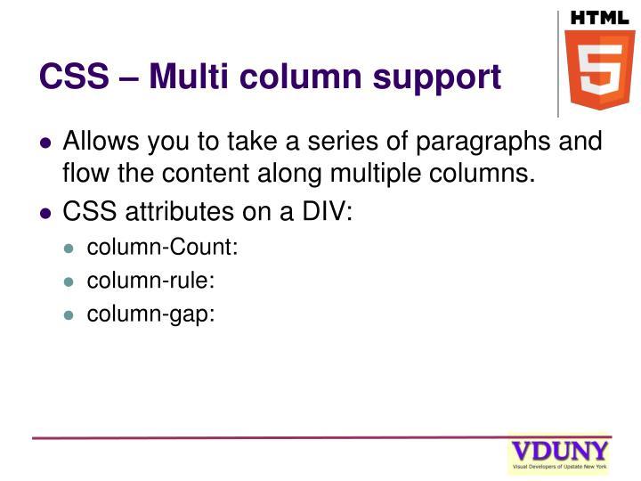 CSS – Multi column support