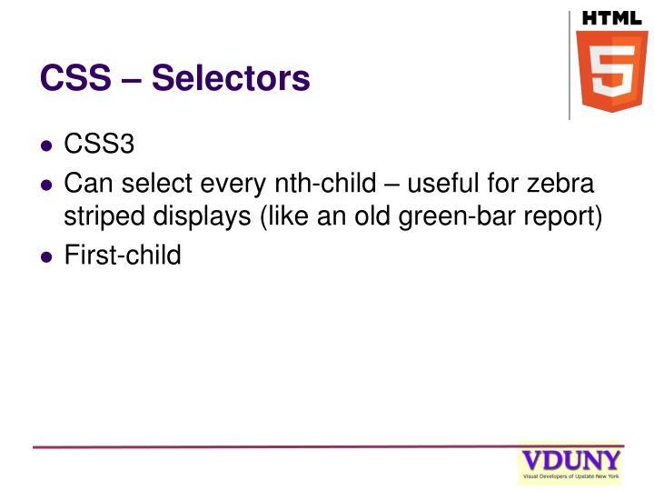 CSS – Selectors