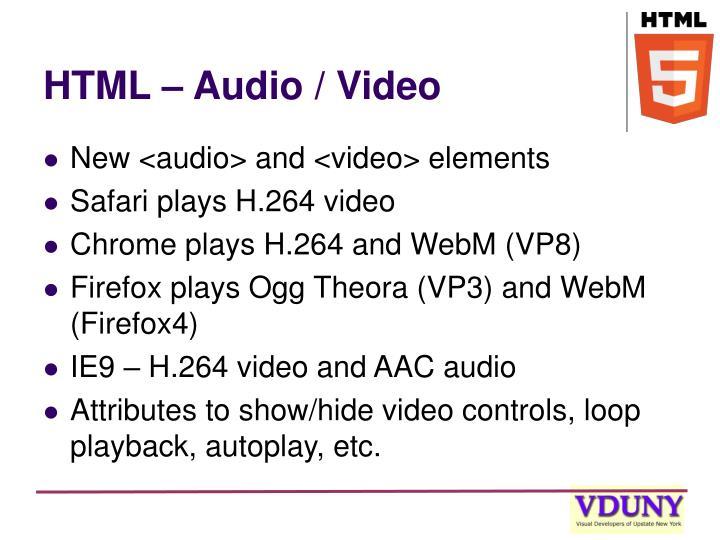 HTML – Audio / Video