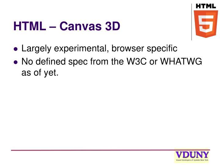 HTML – Canvas 3D