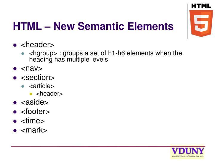 HTML – New Semantic Elements
