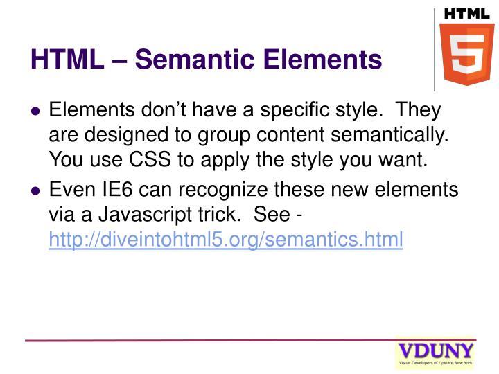 HTML – Semantic Elements