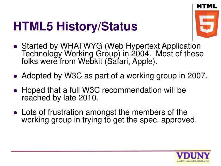 HTML5 History/Status