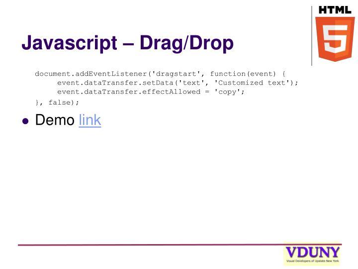 Javascript – Drag/Drop