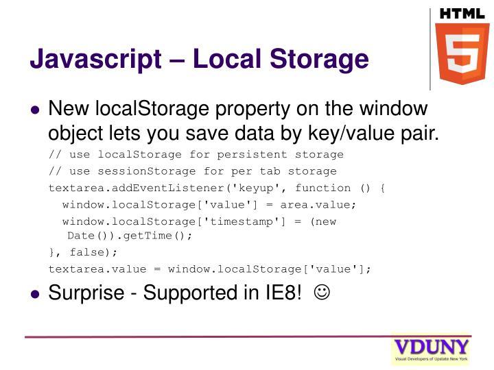 Javascript – Local Storage