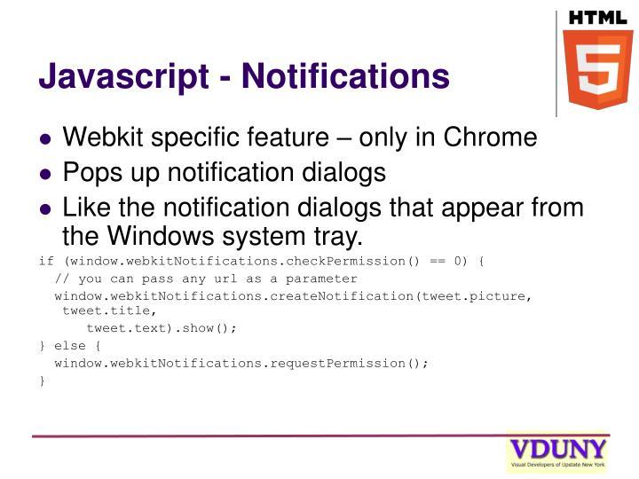 Javascript - Notifications