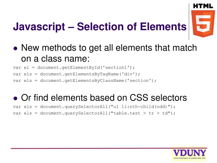 Javascript – Selection of Elements