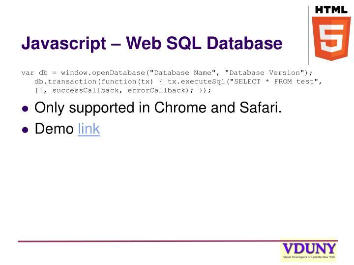 Javascript – Web SQL Database