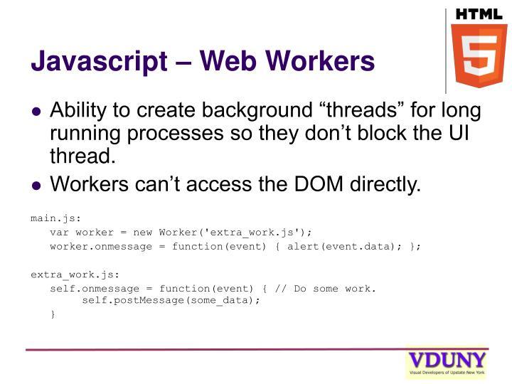 Javascript – Web Workers