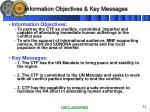 information objectives key messages