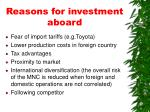reasons for investment aboard