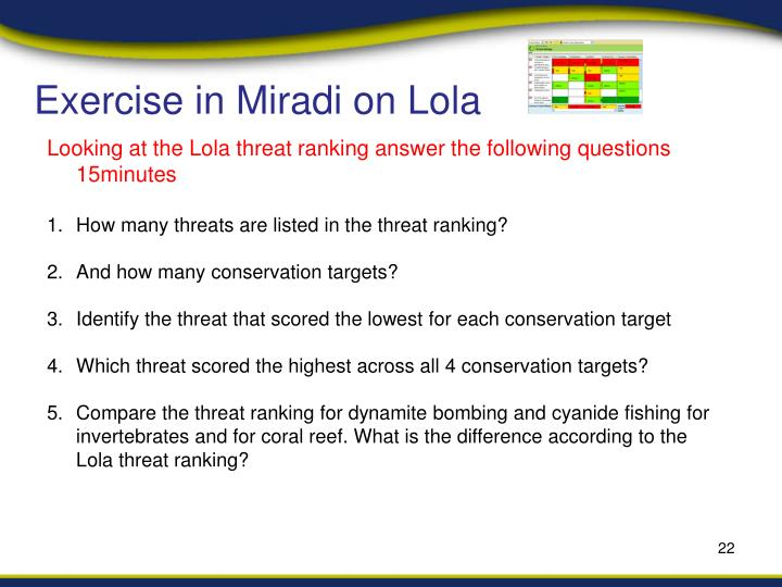 Exercise in Miradi on Lola