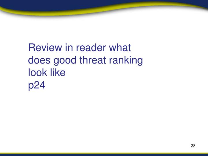 Review in reader what does good threat ranking look