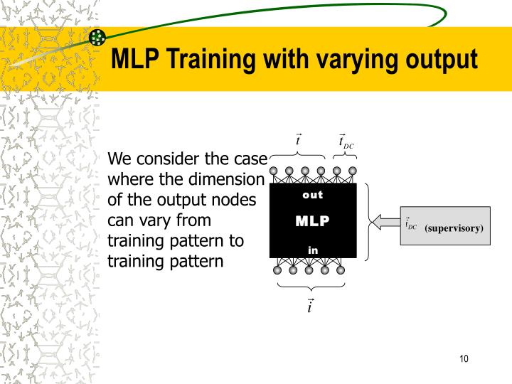 MLP Training with varying output