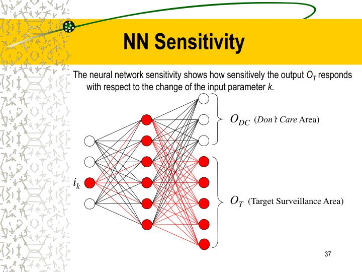 The neural network sensitivity shows how sensitively the output
