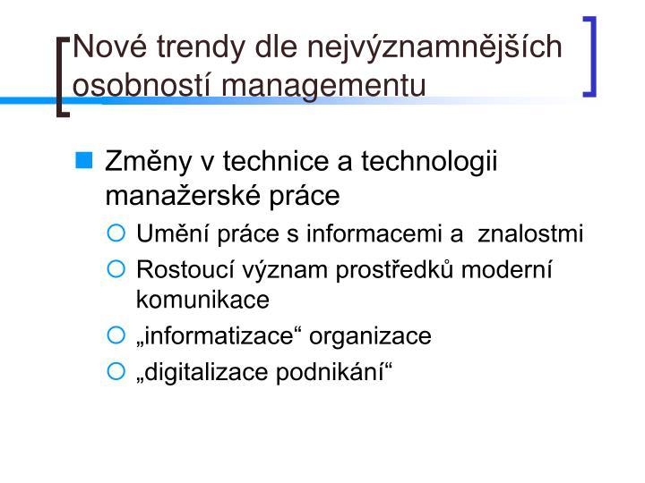 Nové trendy dle nejvýznamnějších osobností managementu
