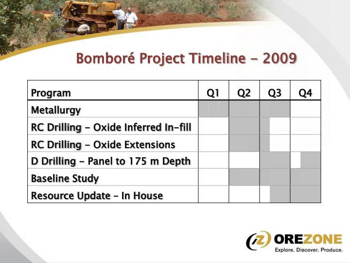 Bomboré Project Timeline - 2009