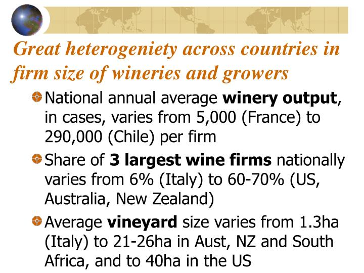 Great heterogeniety across countries in  firm size of wineries and growers
