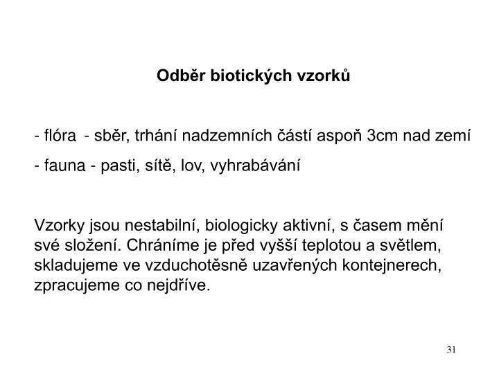 Odběr biotických vzorků