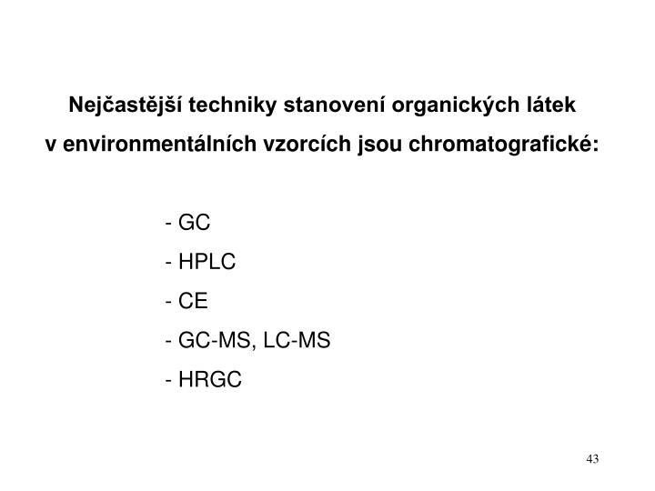 Nejčastější techniky stanovení organických látek