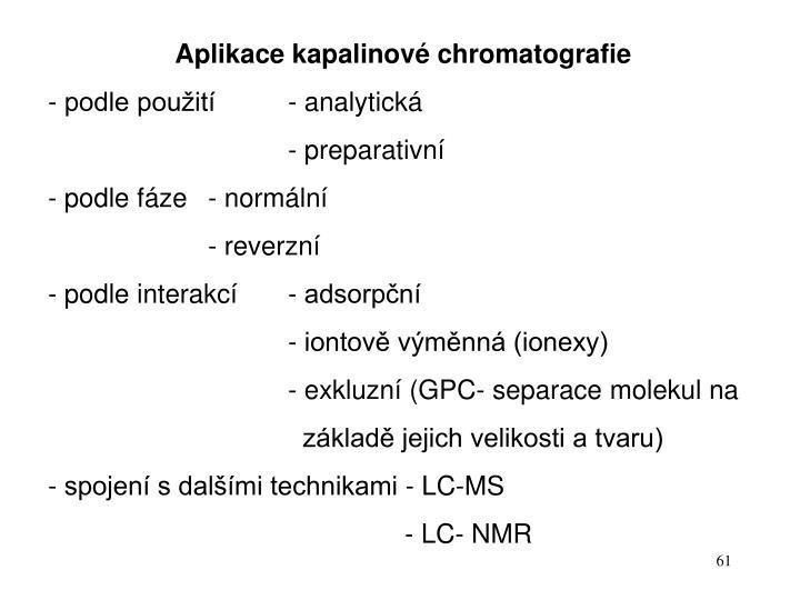 Aplikace kapalinové chromatografie