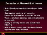 examples of macroethical issues