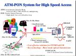 atm pon system for high speed access
