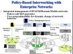 policy based interworking with enterprise networks