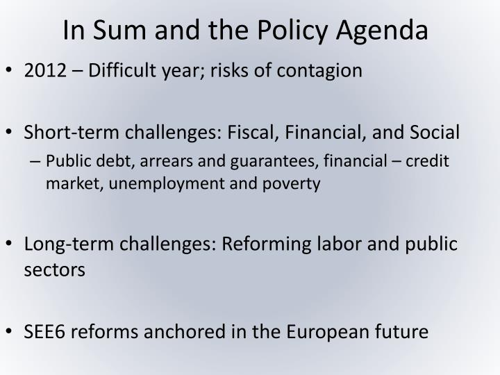 In Sum and the Policy Agenda