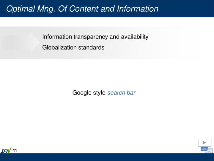 Optimal Mng. Of Content and Information