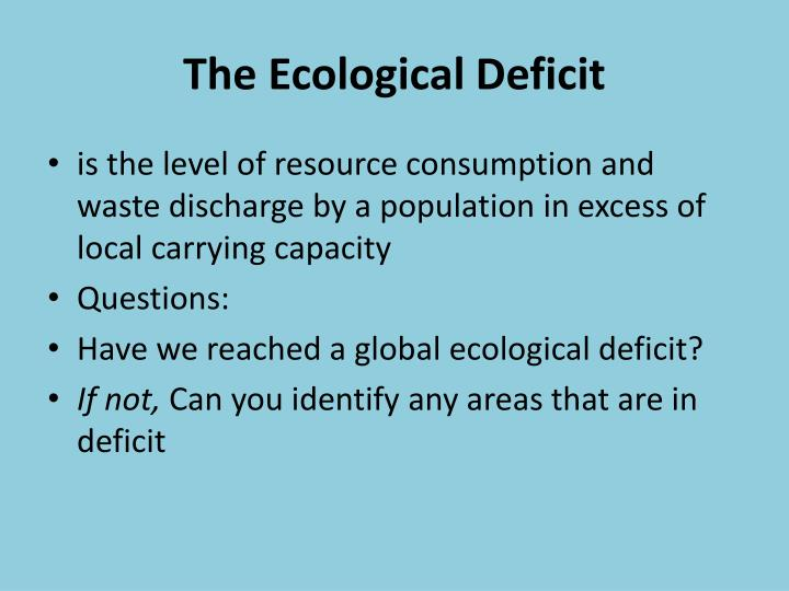 The Ecological Deficit