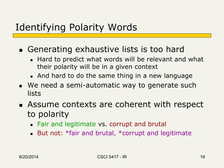 Identifying Polarity Words
