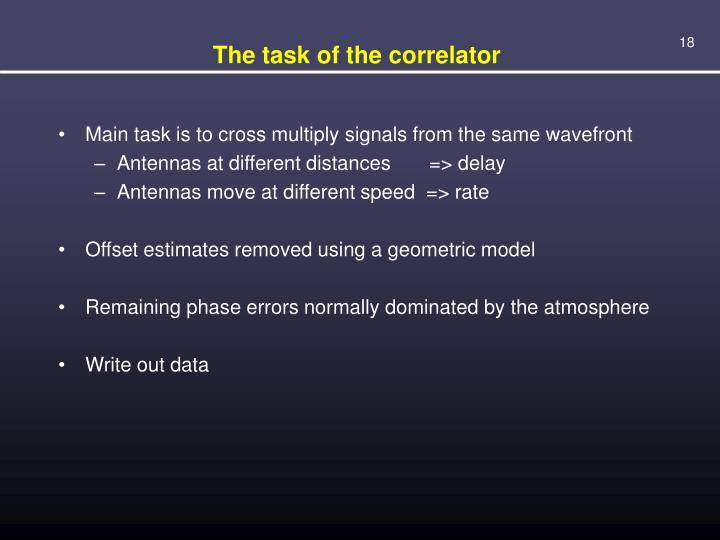 The task of the correlator
