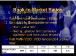 book to market ratios