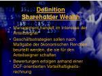 definition shareholder wealth