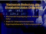 wachsende bedeutung des shareholder value gedanken