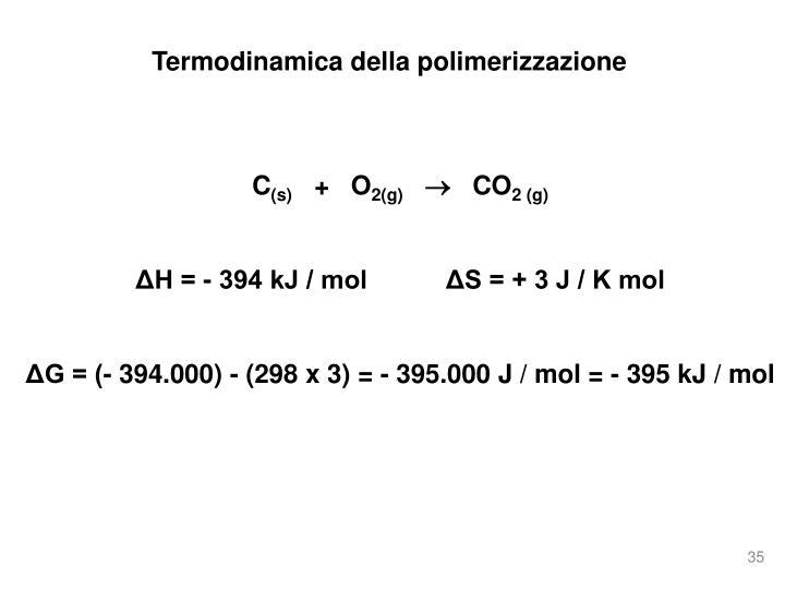Termodinamica della polimerizzazione