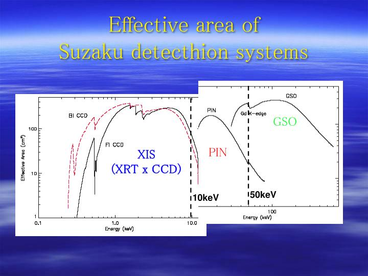 Effective area of suzaku detecthion systems