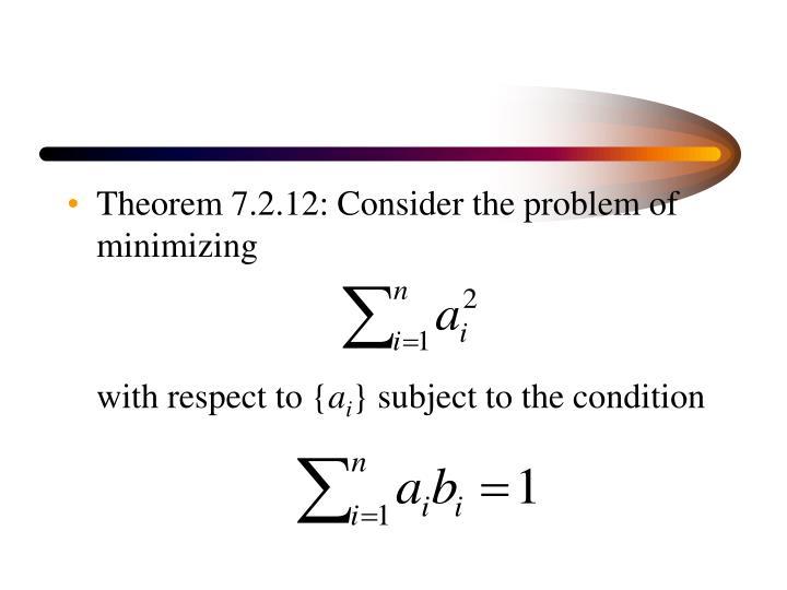 Theorem 7.2.12: Consider the problem of minimizing