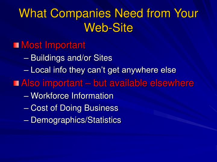What Companies Need from Your Web-Site