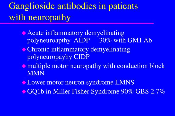 Ganglioside antibodies in patients with neuropathy