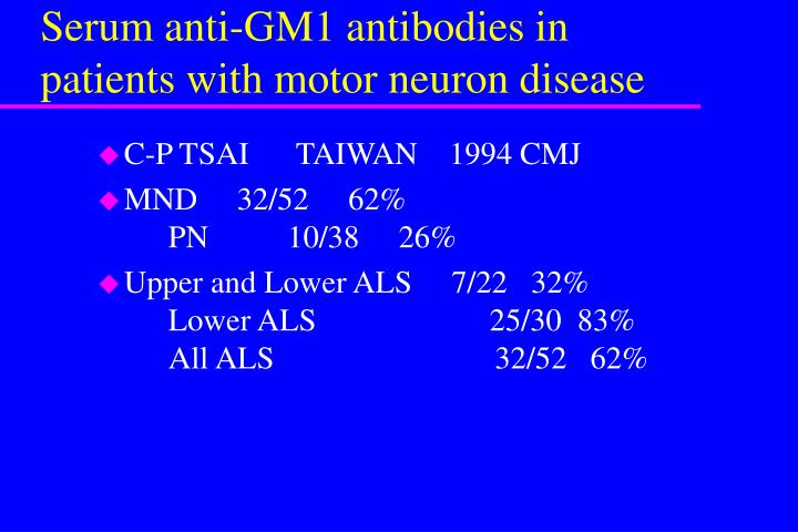Serum anti-GM1 antibodies in patients with motor neuron disease