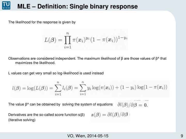 MLE – Definition: Single binary response