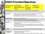 cncs priorities objectives