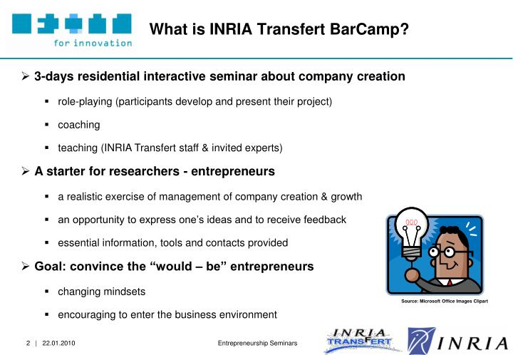 What is inria transfert barcamp
