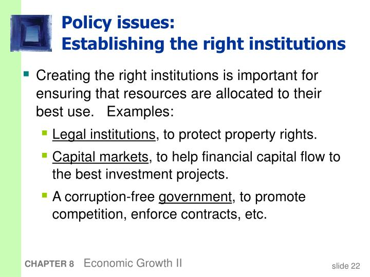 Policy issues: